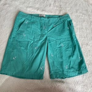 women's size 6 J. Crew Bermuda shorts teal anchors